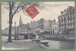 CPA Rare - LOIRE ATLANTIQUE - NANTES - PONT DE L'HOTEL DE VILLE & QUAIS DE L'ERDRE - Animation, Bateau, Tram - Chapeau - Nantes