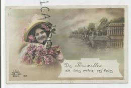 """Jeune Femme Et Roses. Château, Lac Et Cygnes. """"De Bruxelles, Je Vous Envoie Ces Fleurs"""". - Bossen, Parken, Tuinen"""