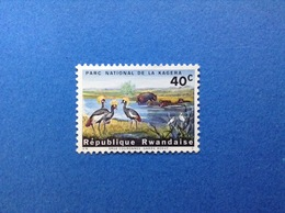 RWANDA REPUBLIQUE RWANDAISE PARCO NAZIONALE KAGERA FAUNA ANIMALI GRU IPPOPOTAMI 40 C FRANCOBOLLO NUOVO STAMP NEW MNH** - 1962-69: Nuovi