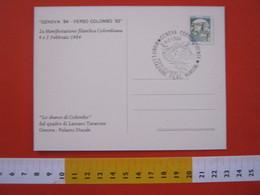 A.06 ITALIA ANNULLO - 1984 GENOVA VERSO COLOMBO '92 CRISTOFORO SBARCO  NAVE GABBIANO BIRD CARD FRANCOBOLLO MACCHINETTE - Christopher Columbus