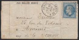 """Ballon Monté """"Le Général Uhrich"""" Oblitéré 18/NOV./1870 Pour Amiens - 1863-1870 Napoléon III Lauré"""