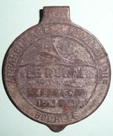 Rare Ancienne 1960's, Plaque En Bronze, Couvercle De Compteur D'eau, LE RURAL, Bourges - Advertising (Porcelain) Signs