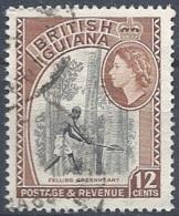 British Guyana, 1954 Queen Elizabeth, 5c Black & Red, Wmk Multi  Script CA # S.G. 338 - Michel 206 - Scott 260 USED - British Guiana (...-1966)