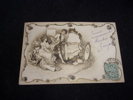 """Couples.Charmante Carte Style """" Viennoise """" Avant 1903. Voir 2 Scans . - Couples"""