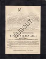 Doodsbrief Vicomte Alfred Vilain XIIII, °1810 †1886 Bourgmestre De Rupelmonde 1836-1850, Bazel 1858-1886 (L62) - Overlijden