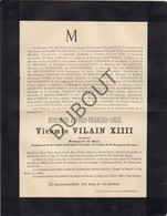 Doodsbrief Vicomte Alfred Vilain XIIII, °1810 †1886 Bourgmestre De Rupelmonde 1836-1850, Bazel 1858-1886 (L62) - Obituary Notices