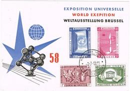 31257. Tarjeta BRUXELLES (Belgien) 1958. Exposition Universelle. ONU Stamps - Brieven En Documenten