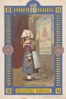 Rare Chromo Format Carte Postale Biscuiterie Nantaise Costume D'enfant Quimper - Lu