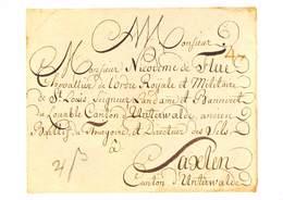 Brief Aus Dem Jahre 1786 An Nikodemus Von Flue In Saxlen (10X15 Cm) - Stamps (pictures)