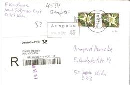 Allemagne Fédérale 2006 - Lettre Recommandée Avec AR De Köln à Köln - Paire Verticale Mi 2530 Edelweiss - [7] République Fédérale