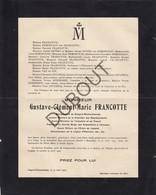 Doodsbrief Gustave Francotte Bourgmestre Sougné-Remouchamps °1852 Liège †1925 Bruxelles Ministre (L63) - Overlijden