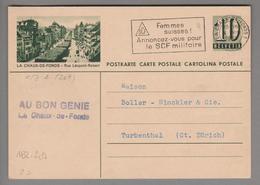 Schweiz GS Bildpostkarte Zu#182.209 übereinstimmend La Chaux-de-Fonds 1950-08-04 - Postwaardestukken