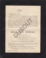 Doodsbrief  Albert-Henri Ansiau °1844 Casteau †1909 Bruxelles Bourgmestre De Casteau-Thieusies /Zinnik (L64) - Obituary Notices