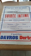 Affiche. St-Josse-Ten-Noode. Bruxelles. Les Pingouins. Cigarettes Davros Derby. 1963. Guy Cudell. - Affiches