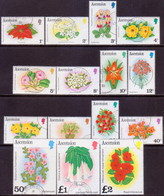 ASCENSION 1981 SG #282A-96A Compl.set Used Flowers (no Imprint) - Ascension