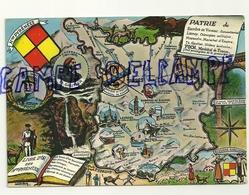 Carte Géographique Des Hautes Pyrénées.Ecusson.  Société Des Cartes Postales APA - Cartes Géographiques