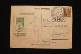 CP Vignette Semeuse 25eme Anni Coins Daté Lyon 4/5/47 - Philatelic Fairs
