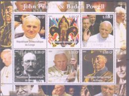 SCOUTS -  CONGO - 2002 - BADEN POWELL & POPE JOHN PAUL II SHEETLET OF 6 MINT NEVER HINGED - Scouting