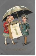 Children, Enfants, Kinder, Kalender, Calender, Calendrier, January 1, Janvrier 1, Umbrella, Parapluie, Regenschirm - New Year