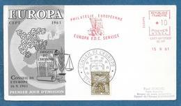 PREMIER JOUR D'EMISSION CONSEIL DE L'EUROPE 1961 PHILATELIE EUROPEENNE EUROPA F.D.C. SERVICE - 1960-1969