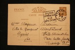 Daguin Hyeres Sur Entier CP Iris 18/10/40 - Poststempel (Briefe)