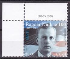 2007, EESTI, 595, 100. Geburtstag Von Ragnar Nurkse. MNH ** - Estonia