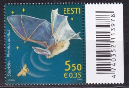EESTII, 2008, 604, Einheimische Fauna: Langohrfledermaus. MNH ** - Estonia