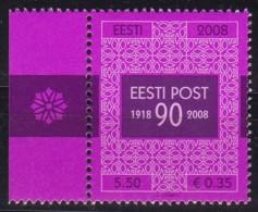 2008, EESTI, 626, 90 Jahre Estnische Post. MNH ** - Estonia