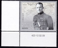 2009, EESTI, 632,, 125. Geburtstag Von Johan Laidoner. MNH ** - Estonia
