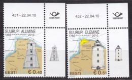 EESTII, 2010, 662/63, Leuchttürme Suurupi. MNH ** - Estonia