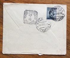 PORTO CIVITANOVA MARCHE (MACERATA) 28/7/10 Annullo T.r. SU BUSTA IN FERMO POSTA  DA BOLOGNA CON MICHETTI 15 C. - 1900-44 Vittorio Emanuele III