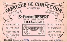 Buvard Ancien FABRIQUE DE CONFECTION ST EDMOND DEBERT LILLE SOLIROC - Textile & Vestimentaire