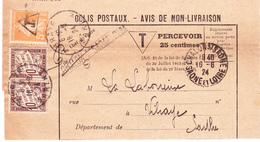 """TA 29 X 2 Et Semeuse 158 Surchargée """"T"""" Sur Avis De Colis Postal De Chalon-sur-Saône à Vibraye (Sarthe) (1924) - Taxes"""