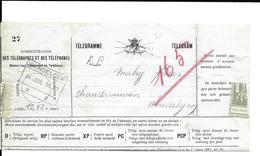 Telegram  Spoorwegstempel  WONDELGEM   24 JUIL 1920   (volledig Doc.) - Stamped Stationery