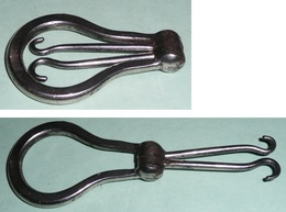 Rare Ancien Double-crochet Tire-lacets Corset En Métal Forme De Lyre, Botte Bottes Lacet Corsets - Habits & Linge D'époque
