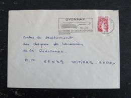 OYONNAX - AIN - FLAMME MUSEE PEIGNE PLASTIQUES SUR SABINE - Marcophilie (Lettres)
