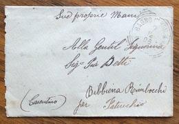 BAGNO IN ROMAGNA (FIRENZE) Annullo T.R. + BIBBIENA AREZZO SU BUSTINA BIGLIETTO DA VISITA DEL 3/12/1906 - 1900-44 Vittorio Emanuele III