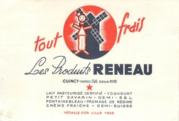 Buvard Ancien LES PRODUITS RENEAU - LAIT PASTEURISE CUINCY - DOUAI - Produits Laitiers