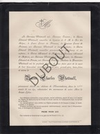 Doodsbrief Baron Charles Whettnall °1811 Londen †1882 Melveren/ Sint-Truiden Kasteel Nieuwenhoven - Adel (L67) - Obituary Notices