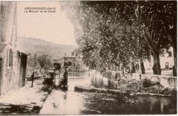 Cpa 30 GOUDARGUES  Le Moulin Et Le Canal , Animée , Dos Vierge - France