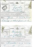 2 Telegram  LEUPEGEM  Spoorwegst. 16 AOUT 1914  !!  + 13  Sep 191 ?  (volledig Doc.) - Stamped Stationery