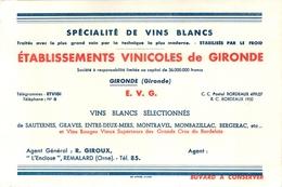 Buvard Ancien ETABLISSEMENTS VINICOLES DE GIRONDE - SPECIALITE DE VINS BLANCS - SAUTERNE - GRAVE - MONTBAZILLAC - Liqueur & Bière