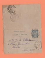 CONVOYEUR PONTIVY A St BRIEUC  SUR CARTE LETTRE POUR NANTES - Marcophilie (Lettres)