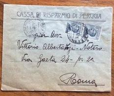 CASSA DI RISPARMIO DI PERUGIA Busta Intestata Con Coppia MICHETTI 30 C. PER ROMA IN DATA 13/7/26 - 1900-44 Vittorio Emanuele III
