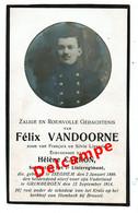 Lot 006 Oorlogsslachtoffer  Vandoorne Félix Izegem 2 Januari 1889 Gesneuveld Grimbergen 12 September 1914 - Images Religieuses