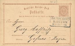 REMSCHEID / HASTEN  - 1874 , Ganzsache Nach Gefrees - Germany