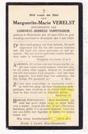 DP Margueritte M.Verelst ° Wijtschate 1893 † Dranouter 1929 X Ludovicus H. VanPeteghem / Heuvelland - Images Religieuses