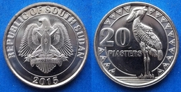 "SOUTH SUDAN - 20 Piastres 2015 ""shoebill Stork"" KM# 2 - Edelweiss Coins - South Sudan"