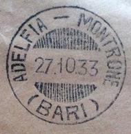 ADELFIA - MONTRONE (BARI) Annullo A Barre SU BUSTA PER BARI IN DATA  27/10/33 - 1900-44 Vittorio Emanuele III