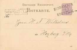 NORDHAUSEN - NORTHEIM - 1882 , Ganzsache Nach Herzberg  - Bahnpoststempel , Briefzustellerstempel - Germany
